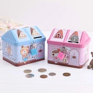 Két sắt đựng tiền tiết kiệm hình ngôi nhà có khóa mini cho bé thumbnail