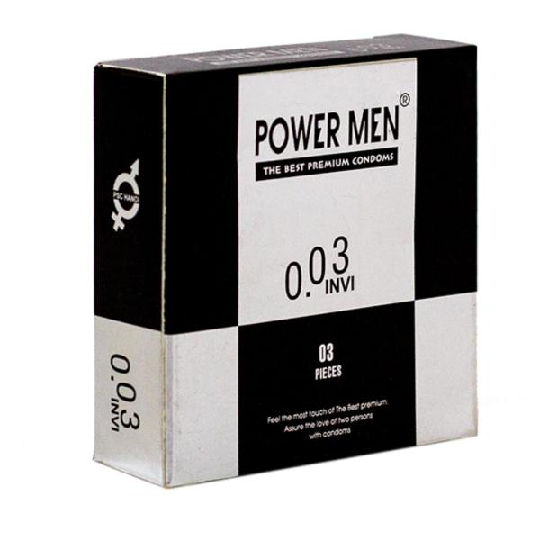 Bao cao su Powermen INVI 0.03 hộp 3 Cái cao cấp