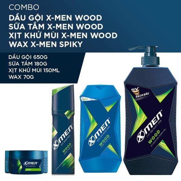 X Men -  Combo Dầu gội nước hoa X-Men Wood 650g+Sữa tắm 180g+Sáp vuốt tóc Spiky 70g+Xịt khử mùi 150ml  - Giá Sỉ tốt nhất