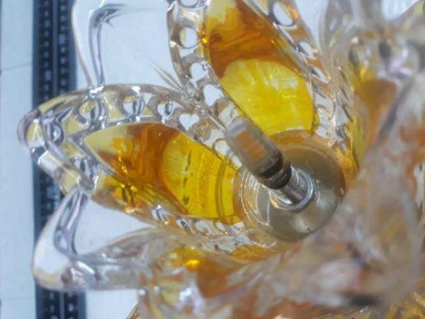 Cặp Đèn Thờ Led Pha Lê Bông Vàng 20Cm