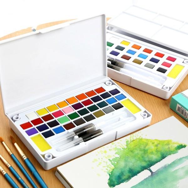 Mua Bộ Màu Nước Solid Water Color Cao Cấp 12/18/24/36 Màu Tặng 2 Bút Nước, 2 Mút, 1 Palette