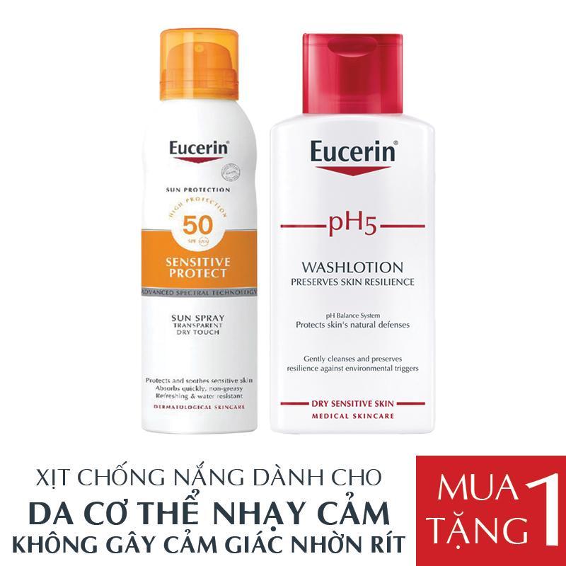 Eucerin Xịt Chống Nắng Toàn Thân Sun Spray Transparent Dry Touch Sensitive Protect SPF 50 200ml TẶNG Sữa Tắm Eucerin pH5 200ml nhập khẩu