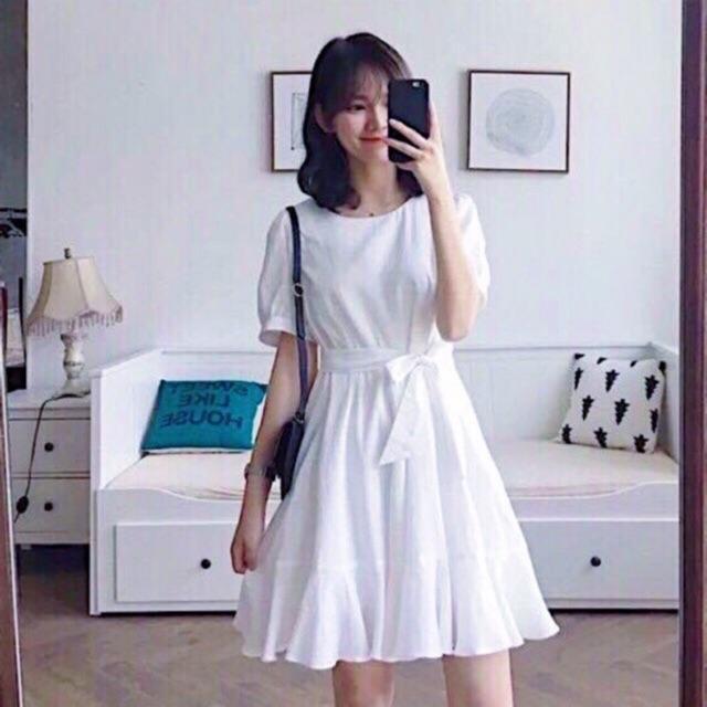 Đầm trắng đuôi cá cột eo (kèm hình thật)