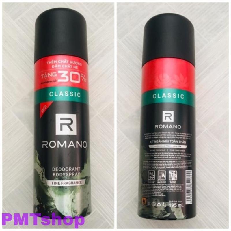 Xịt ngăn mùi toàn thân Romano Classic chai lớn 195ml = 150ml tăng 30% - Hương nước hoa cổ điển tốt nhất