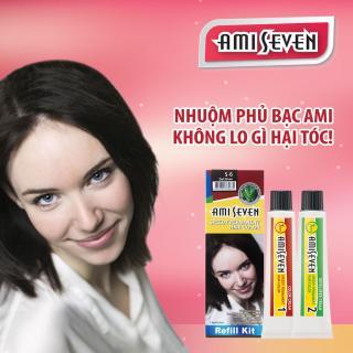 Nhuộm phủ bạc dược thảo Ami Seven Speedy Permanent Hair Color (60g 60g) nhanh 7 phút - Hàn Quốc - loại tiết kiệm- màu S6- Nâu đậm thumbnail