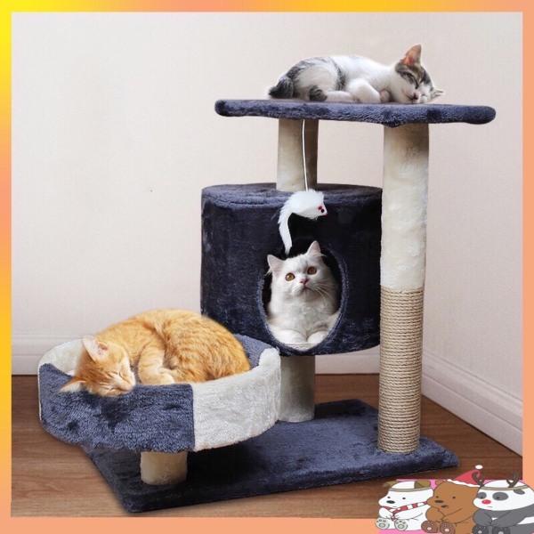 Nhà cây cho mèo - cattree nhà mèo 3 tầng có trụ cào móng cho mèo giúp mèo giảm được những nguy cơ mắc các bệnh béo phì