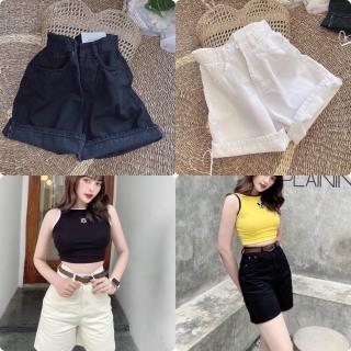 [ kèm ảnh thật ] Quần short jean nữ trơn lưng cao kiểu ngố - chất vãi kaki jean mềm - quần sọt jean nữ thời trang Jan s Fashion thumbnail