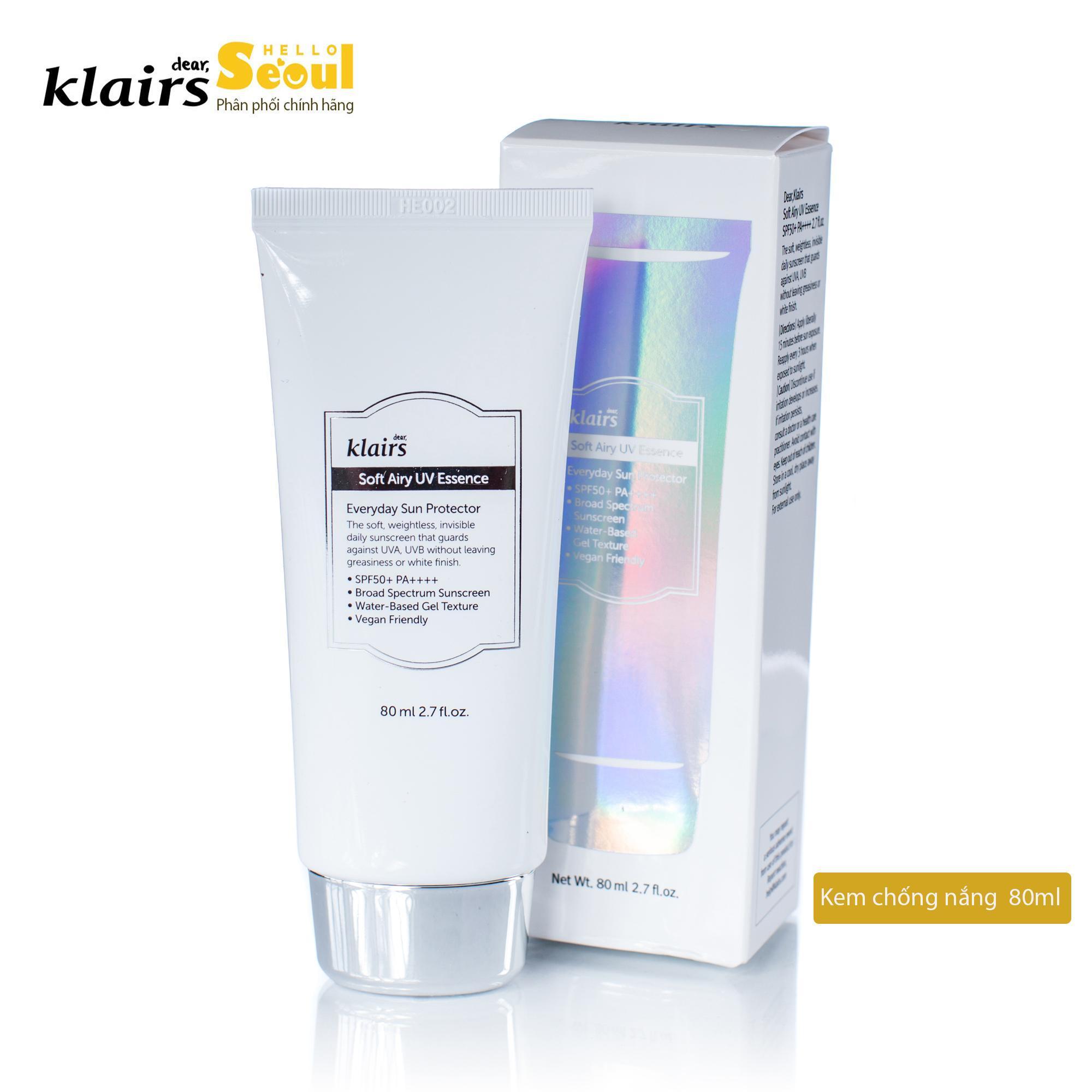 Kem chống nắng làm sáng da, giảm bóng nhờn Klairs Soft Airy UV Essence SPF50/PA++++ 80ml nhập khẩu