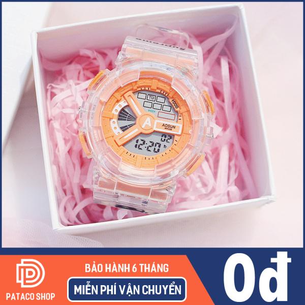 Nơi bán Đồng hồ thể thao nam nữ Aosun A109 điện tử dây Silicon trong suốt đèn led ban đềm 7 màu