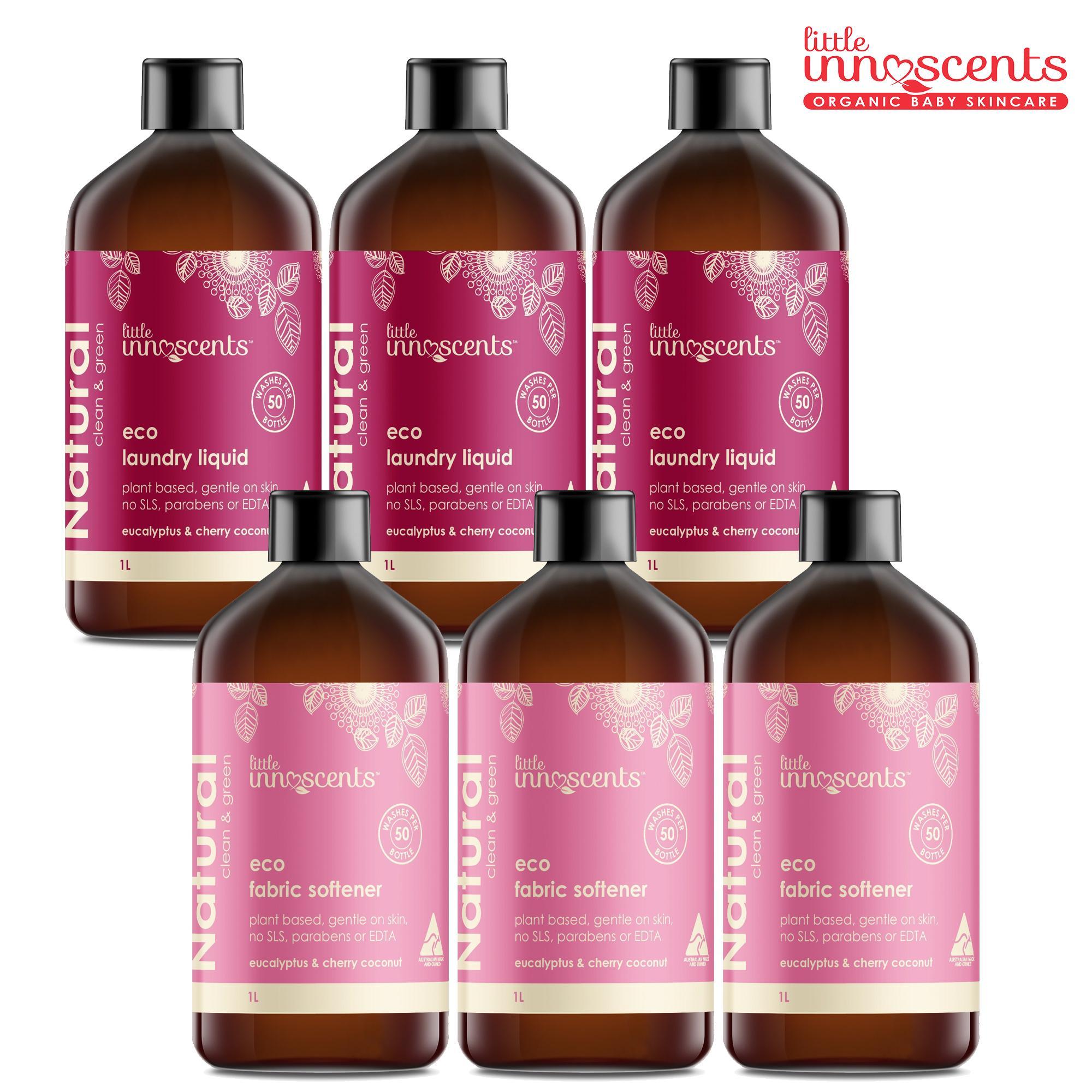 Bộ 6 chai Little Innoscents - Nước giặt & Nước xả vải sinh thái  - Eco Laudry Liquid & Fabric Softener