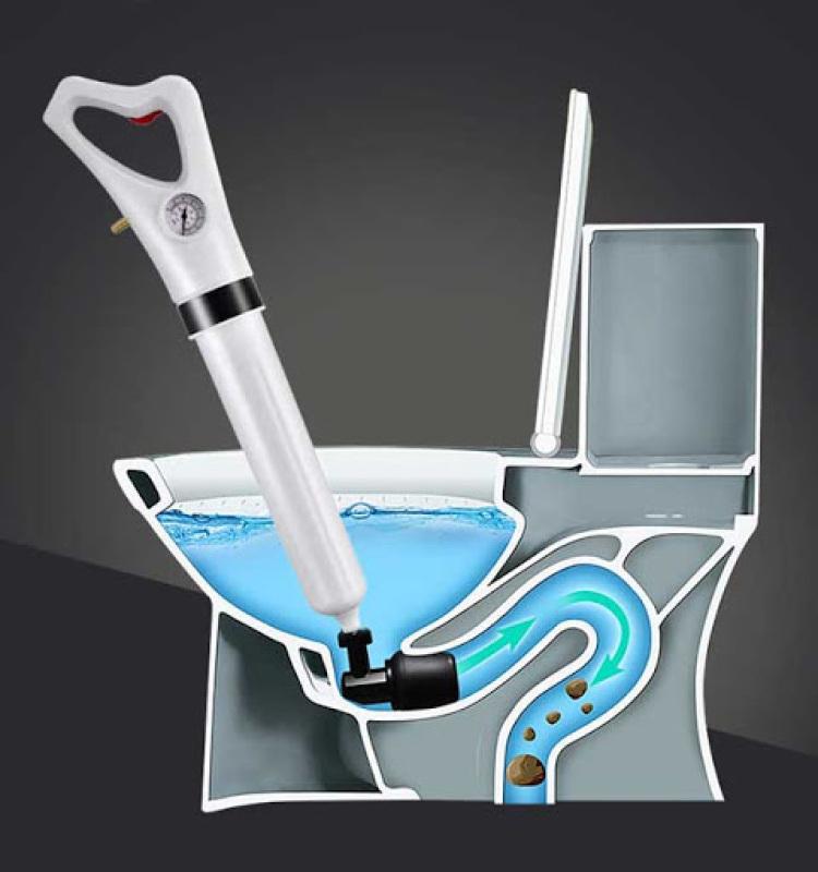 Dụng cụ thông tắc ngẽn bồn cầu nhà vệ sinh, bồn rửa chén chuyên nghiệp - thông tắc cống khí nén hiệu quả tuyệt vời với khớp quay 360 độ + có kèm bơm