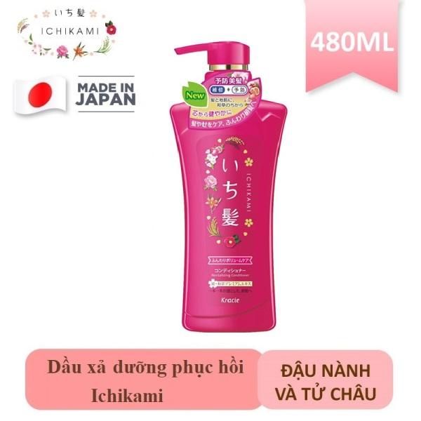 Dầu xả Ichikami dưỡng phục hồi tóc chiết xuất đậu nành và tử châu 480g date T3/2022 giá rẻ