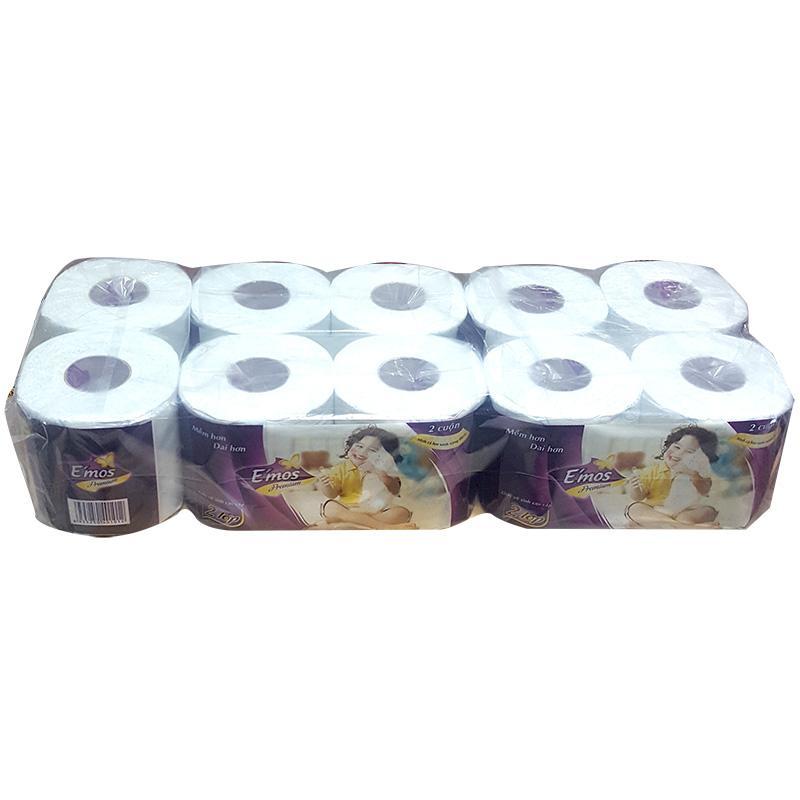 Giấy vệ sinh E'mos Premium 2 lớp 10 cuộn