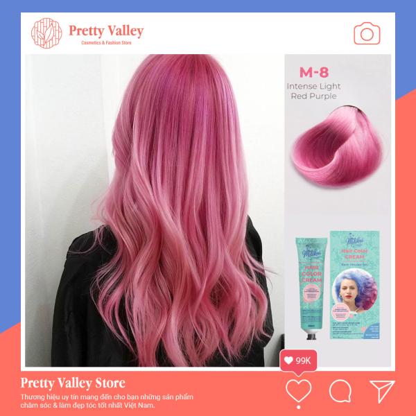 Kem nhuộm tóc cao cấp màu hồng tím Molokai 60ml [ TẶNG KÈM GĂNG TAY + CHAI OXY TRỢ DƯỠNG TÓC ] cao cấp