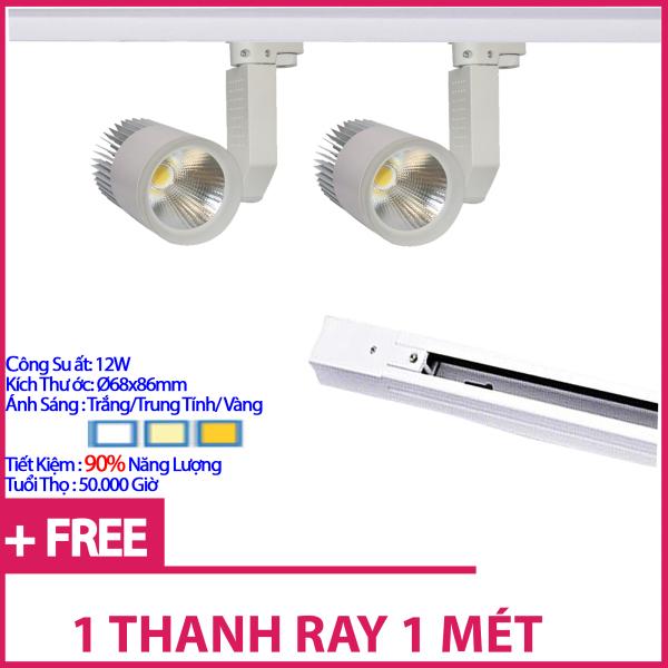 Bộ 2 Đèn Led Rọi Ray COB 12w Vỏ Trắng Và 1 Thanh Ray 1 Mét