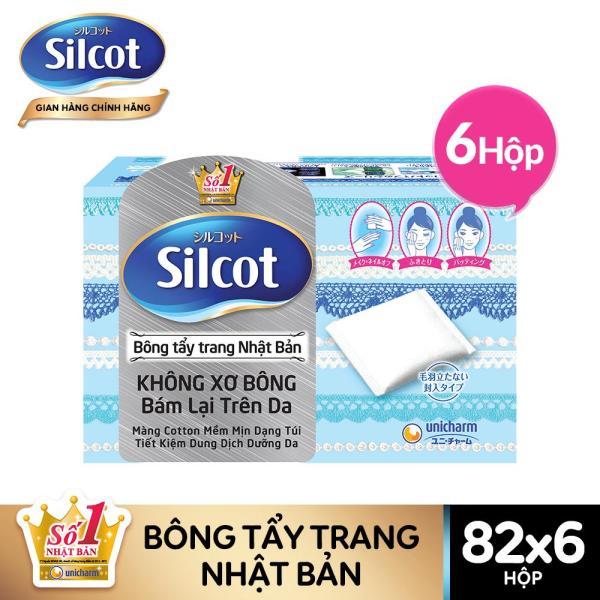 Combo 6 hộp bông tẩy trang Silcot hộp 82 miếng giá rẻ