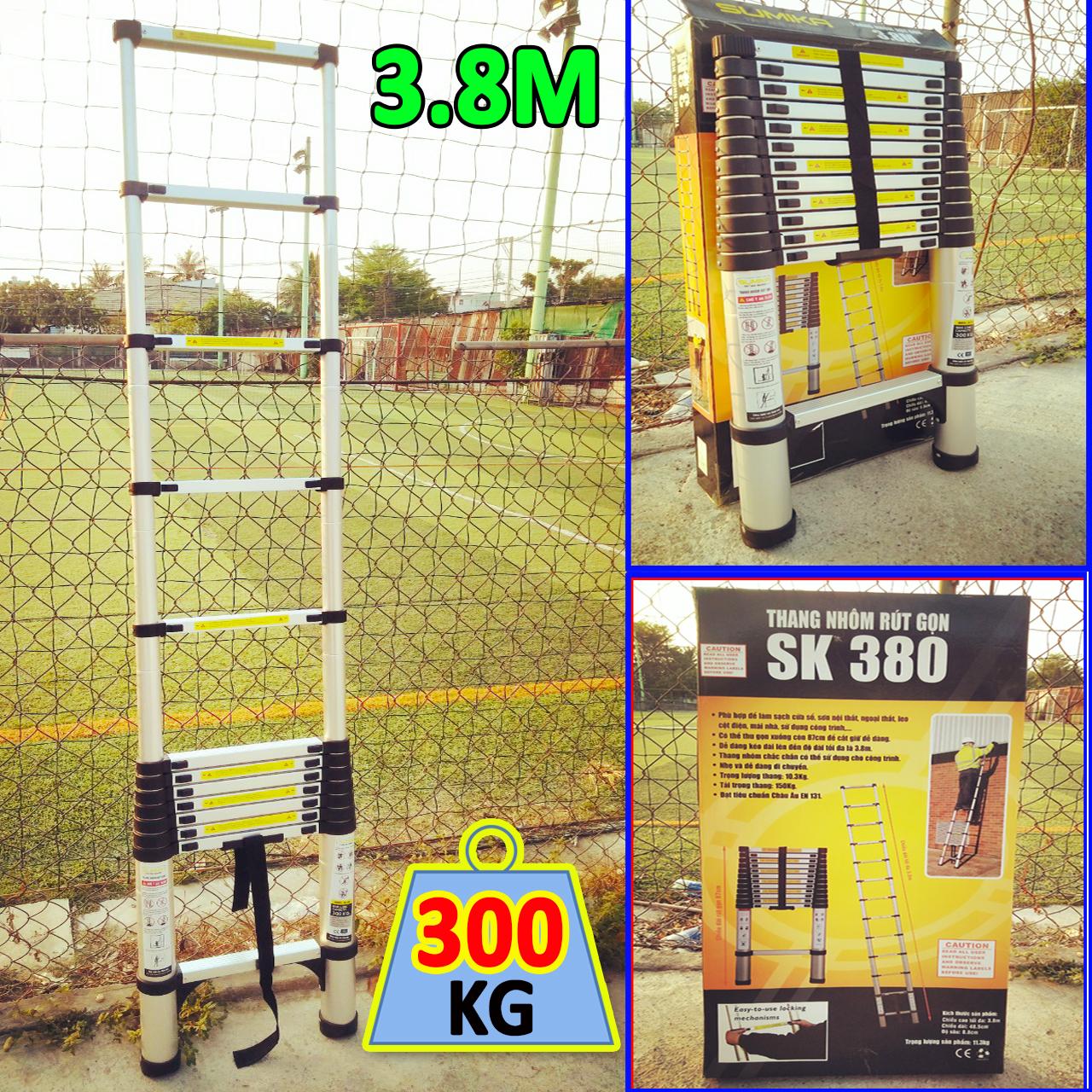 Thang nhôm rút đơn 3,8M Sumika SK380