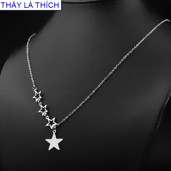 Dây chuyền nữ inox Thấy Là Thích 3 ngôi sao nhỏ phối 1 ngôi sao lớn đáng yêu - Cam kết 1 đổi 1 nếu hoen , gỉ sét