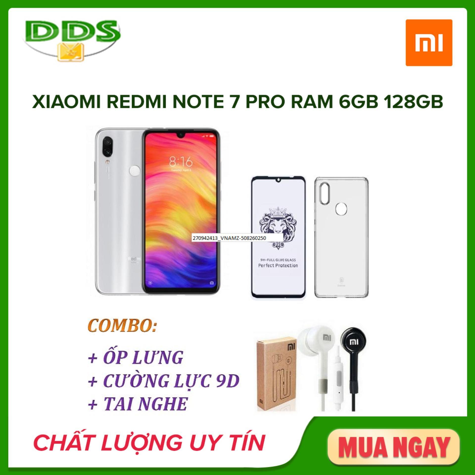 Xiaomi Redmi Note 7 Pro Ram 6GB 128GB + Ốp lưng + Cường lực 9D Full màn + Tai nghe - Hàng nhập khẩu
