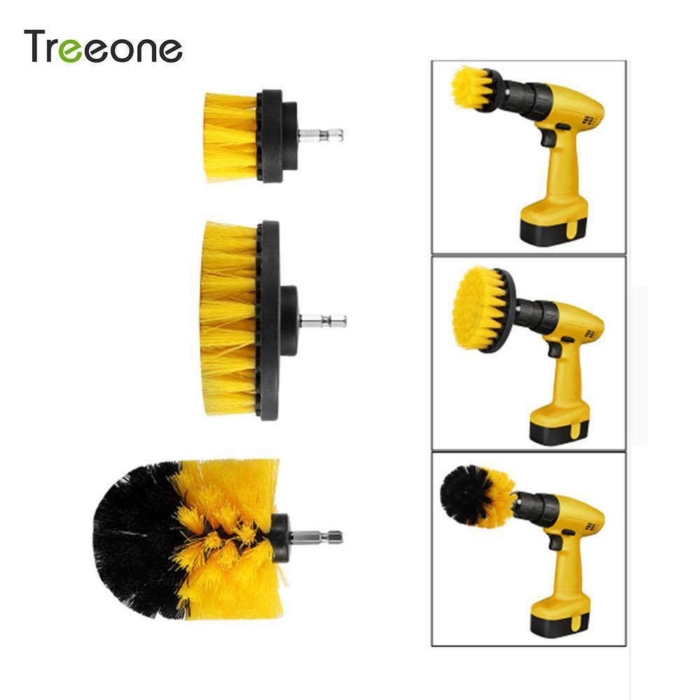Treeone 3 cái/bộ Máy Khoan Điện Bàn Chải Bộ Nhựa Tròn Bàn Chải Cọ Rửa Làm Sạch Cho Thảm Kính Lốp Xe Ô Tô Nylon Bàn Chải Điện Chà mũi khoan
