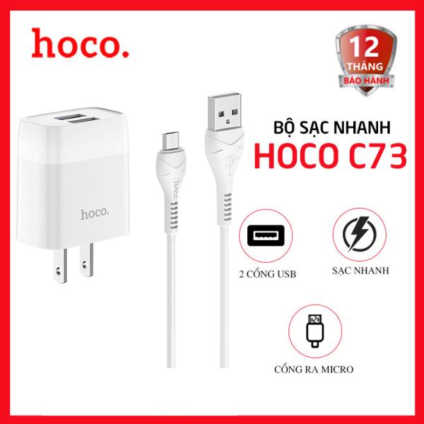 Bộ sạc nhanh Micro USB 2 cổng USB 2.4A Hoco C73 dài 1m - Dành cho điện thoại Android