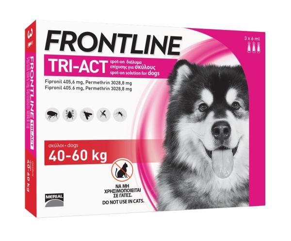 FRONTLINE TRIACT® size XL Phòng ve, Rận, Bọ chét, Ruồi, Muỗi ho chó từ 40 - 60kg (6ml/ống x 3 ống/hộp)