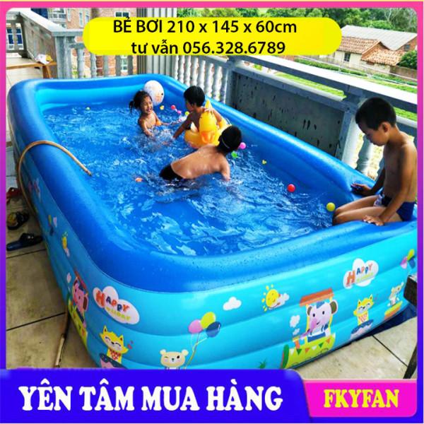 [LOẠI DÀY KÍCH THƯỚC 2M1- BỂ CHỐNG TRƠN] Bể bơi bơm hơi, bể bơi mini gia đình, tam be boi tre em, Bể bơi phao Cỡ lớn cho bé và gia đình - Bể bơi phao 3 Tầng cỡ lớn: 210 X 150 X 60 cm. loại dày tặng kèm Miếng Vá