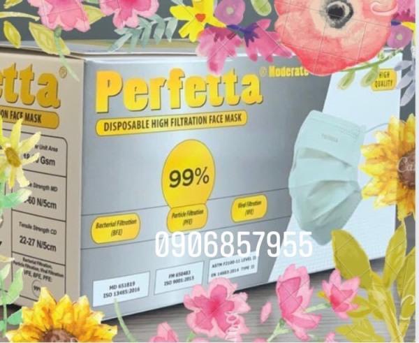 Khẩu trang y tế cao cấp Perfetta 3 lớp -1hộp 50 cái màu trắng nhập khẩu