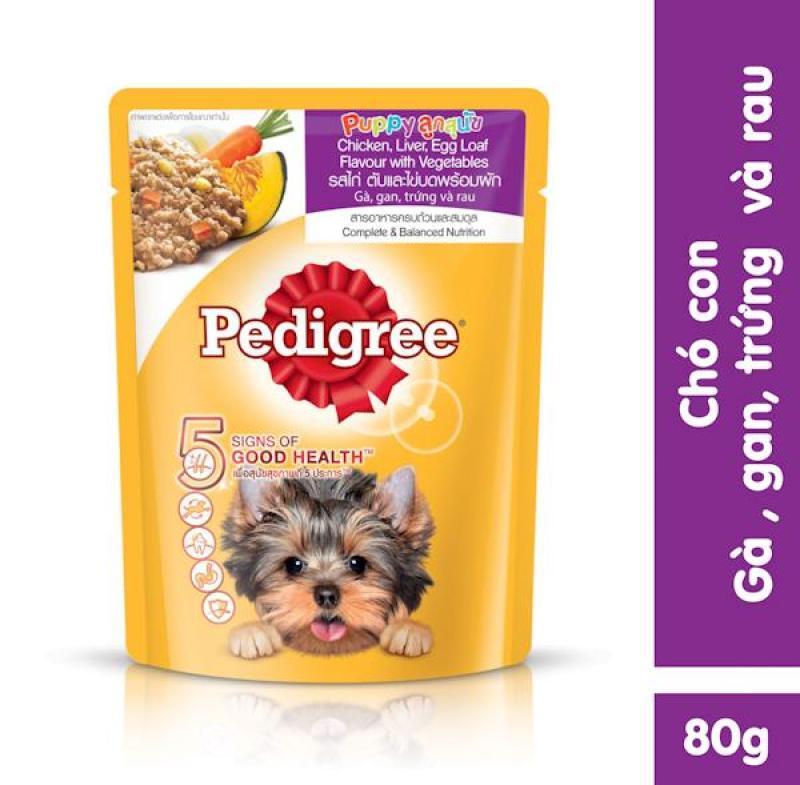 Thức ăn chó con dạng sốt Pedigree vị gà, gan, trứng và rau 80g