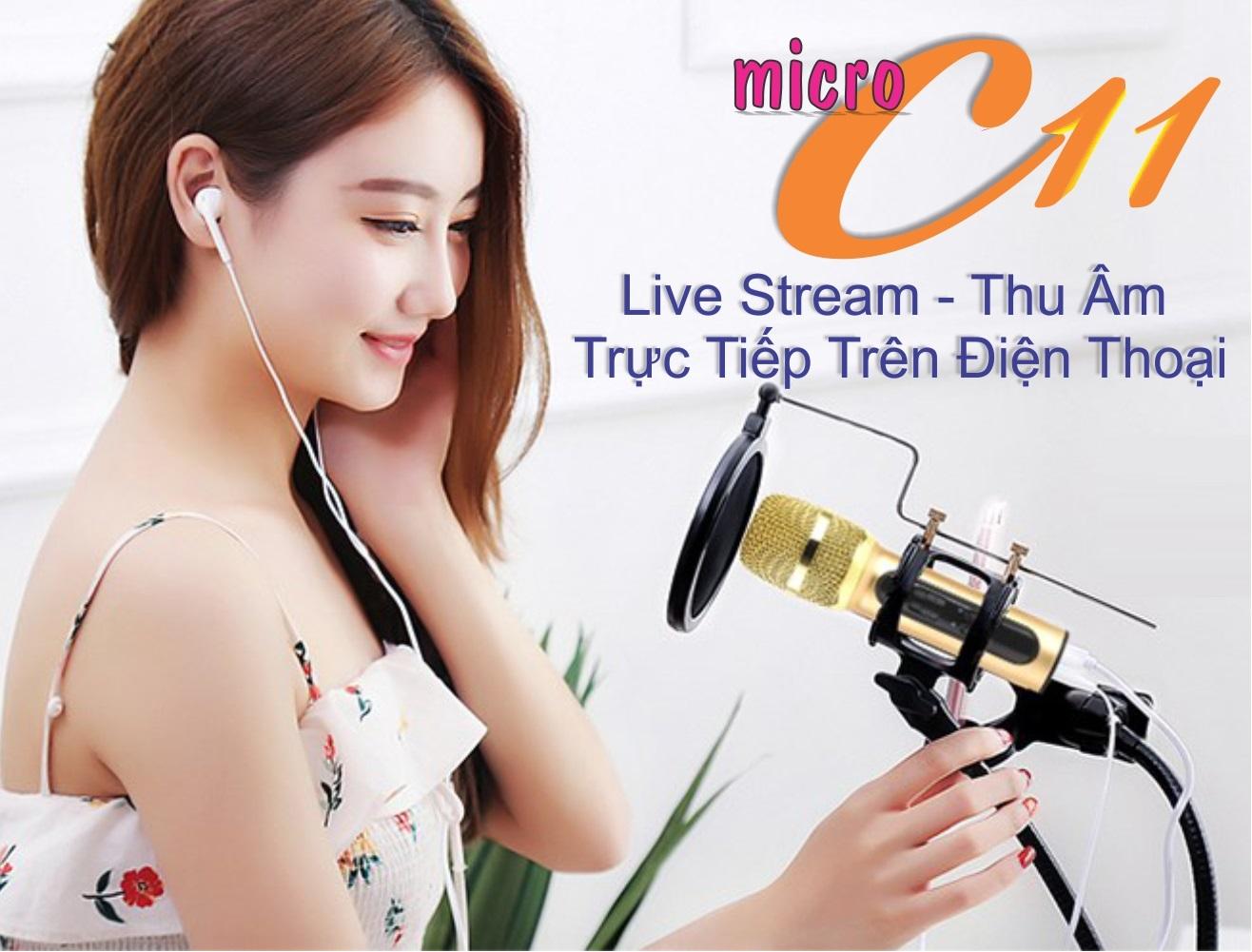Bộ Micro C11 Live Stream, Hát Karaoke Chuyên Nghiệp Mới, Đầy Đủ Phụ Kiện Tai Nghe, Cáp Sạc, Dây LiveStream