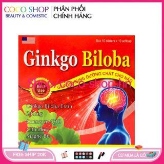 Chuẩn GMP - [CHÍNH HÃNG] - Hoạt huyết dưỡng não Ginkgo Biloba Extract 240mg giảm đau đầu, hoa mắt, chóng mặt, rối loạn tiền đình - Hộp đỏ 100 viên thumbnail