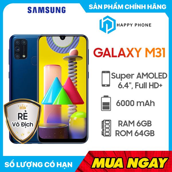 Điện thoại Samsung Galaxy M31 Bộ nhớ trong 64GB RAM 6GB | Hàng mới 100%, Nguyên Seal, Bảo hành 12 tháng