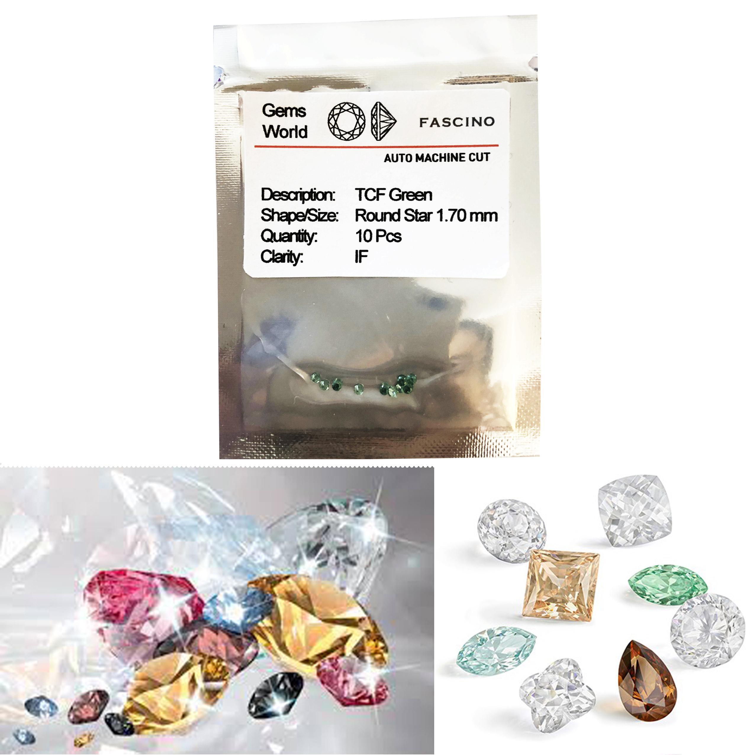 Kim cương nhân tạo Fascino Dạng Tròn 1.70 mm Màu Xanh Lá 1st Quality - gói 10 viên đính nữ trang
