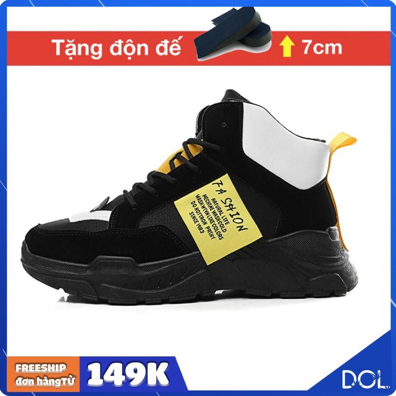 Giày thể thao nam cao cổ tăng chiều cao Ulzzangboy, Tăng 7cm chiều cao với 2 màu đế trắng và đế đen cá tính giá rẻ