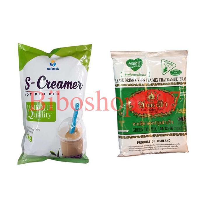 Combo 1 Gói Trà Xanh Thái Lan (200g)+ 1 Bột kem sữa S-creamer (1kg) Nhật Bản