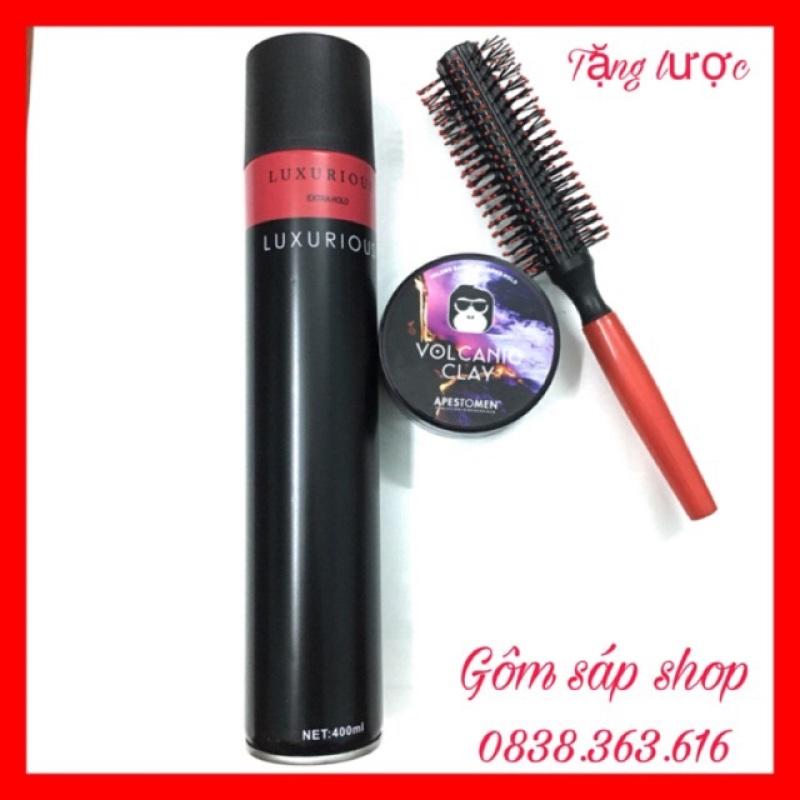 COMBO gôm xịt tóc LUXURIOUS 420ml + Sáp Vuốt Tóc VOCALIC ClAY (TẶNG LƯỢC) giá rẻ