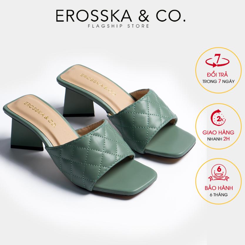 Dép nữ, dép cao gót Erosska thời trang mũi vuông quai ngang phối gót sơn gỗ kiểu dáng thanh lịch cao 5cm EM045 (GE) giá rẻ