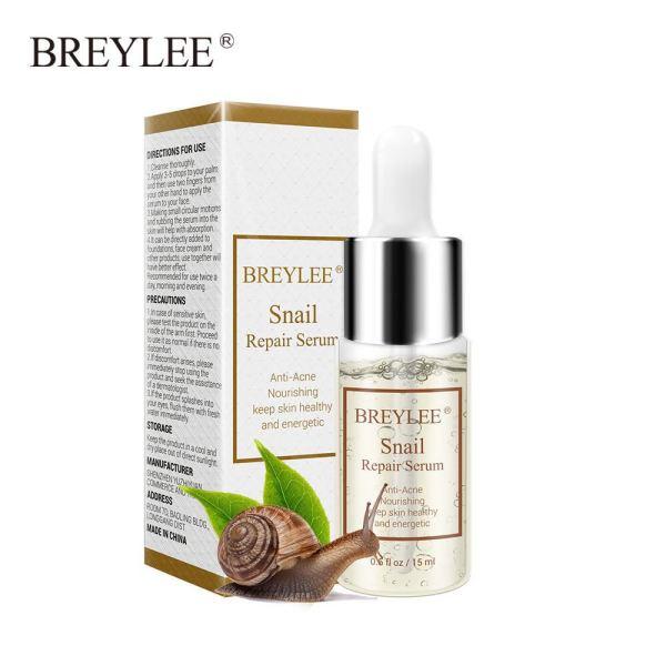 BREYLEE Serum Dưỡng Trắng Tái Tạo Da Loại Bỏ Mụn Trứng Cá Phục Hồi Da Căng Mịn Repair Snail Compact Moisturizing Anti-Aging Facial Care 15ml cao cấp