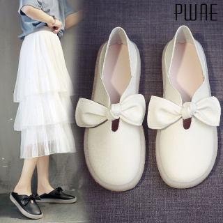 Giày Thuyền Nữ PWAE, Đèn Hai Lớp Mới Giày Trắng Giày Đơn Nơ Đế Bằng Hoang Dã Giày Bà Bầu Đế Mềm Cho Nữ