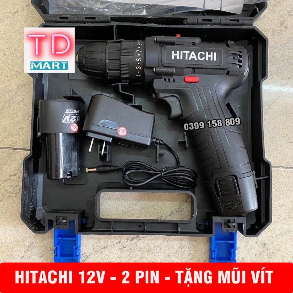 Máy khoan pin HITACHI 12V - 2PIN , Khoan, Vặn vít 2 cấp tốc độ Tặng Mũi Vít