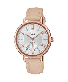 Đồng hồ nữ Casio SHEEN SHE-3066PGL-7B Dây da, mặt đính đá, viền mạ vàng hồng nữ tính thumbnail