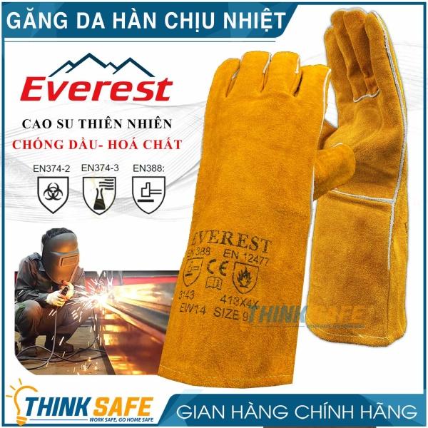 [HCM]Găng tay da hàn Everest EW14 bao tay chống cháy chịu nhiệt/ tia lửa văng bắn chuyên dùng hàn que (vàng) - Bảo hộ Thinksafe