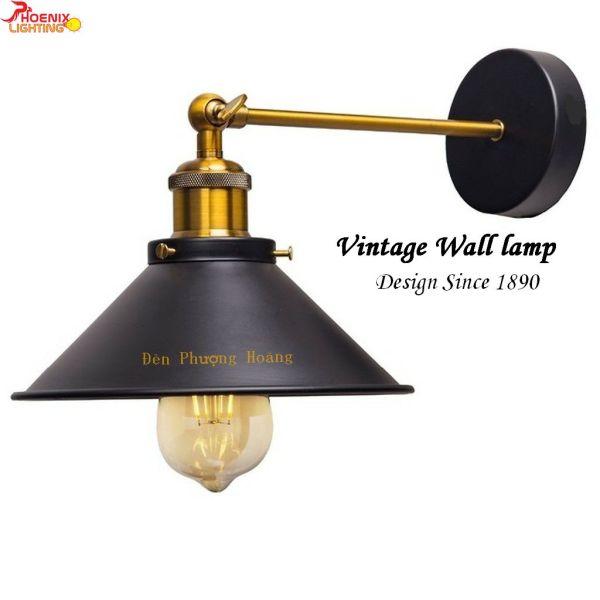 Đèn tường - Mẫu đèn vách Vintage chao hình nón cổ điển