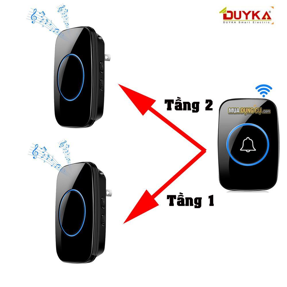 Chuông cửa không dây thông minh  Bộ 2 chuông 1 nút bấm - Duyka DK814-2C1N