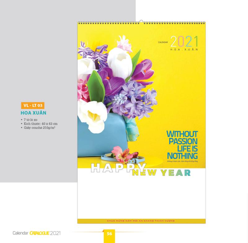 [LỊCH 2021] Lịch tường -LX7 03 - 7 tờ Hoa xuân (lò xo) 40x63cm