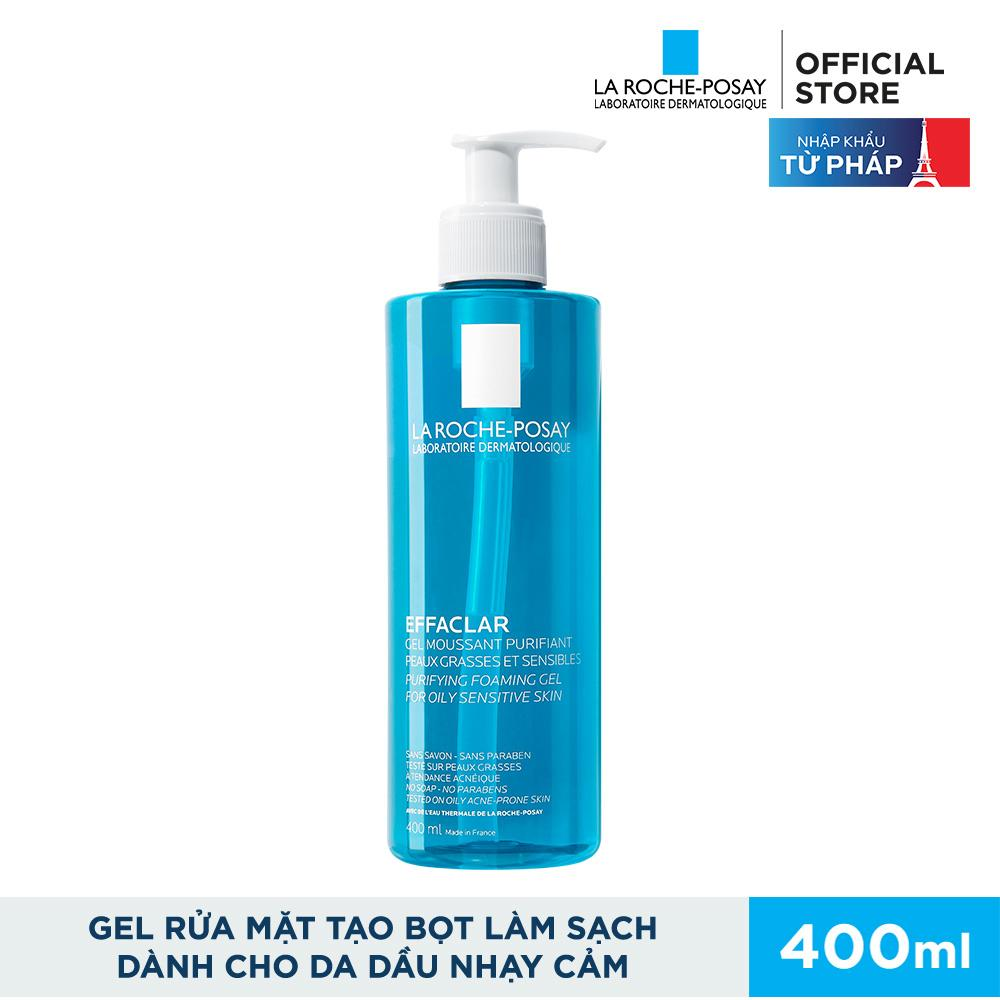 Gel rửa mặt tạo bọt làm sạch dành cho da dầu nhạy cảm La Roche-Posay Effaclar Foaming Gel 400ml nhập khẩu