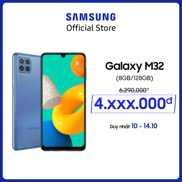 Độc quyền Lazada - Điện thoại Samsung Galaxy M32 - Pin 5.000 mAH - Tương thích với sạc nhanh 25W - Miễn phí vận chuyển - Trả góp 0%