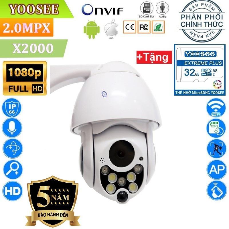 (Tặng thẻ nhớ YOOSEE Chuẩn 32 GB)Camera WIFI YooSee Ngoài trời-Trong Nhà X2000 xoay 360 độ 2.0Mpx Full HD 1920 x 1080p FullHD , Camera KHÔNG DÂY XEM ĐÊM CÓ MÀU , đàm thoại 2 chiều ghi âm xem lại video đã lưu