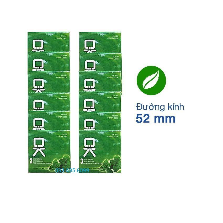 Bộ 12 hộp Bao cao su OK bạc hà - cho cảm giác thăng hoa (36 cái)