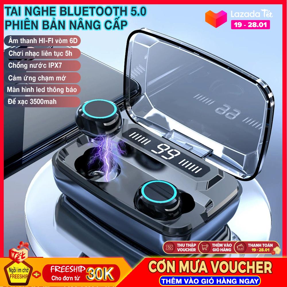 Tai nghe không dây TWS Bluetooth 5.0 âm thanh Hi-Fi,Chống nước IPX7, có cảm ứng chạm, tự động kết nối thông minh, thời gian chơi nhạc lâu thích hợp việc chơi game, học ngoại ngữ hay lái xe trong thời gian di chuyển dài